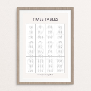 A3 educational times table poster (grey)